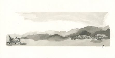 A plane out for safari. Ink