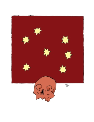 A skull with some stars